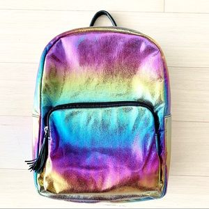 rainbow hologram metallic faux leather backpack